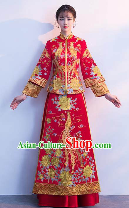 Chinese Traditional Xiuhe Suits Bride Red Full Dress Ancient Embroidered Phoenix Bottom Drawer Wedding Costumes for Women