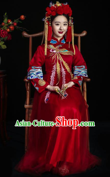 Chinese Traditional Toast Clothing Xiuhe Suits Ancient Bride Embroidered Phoenix Bottom Drawer Wedding Costumes for Women