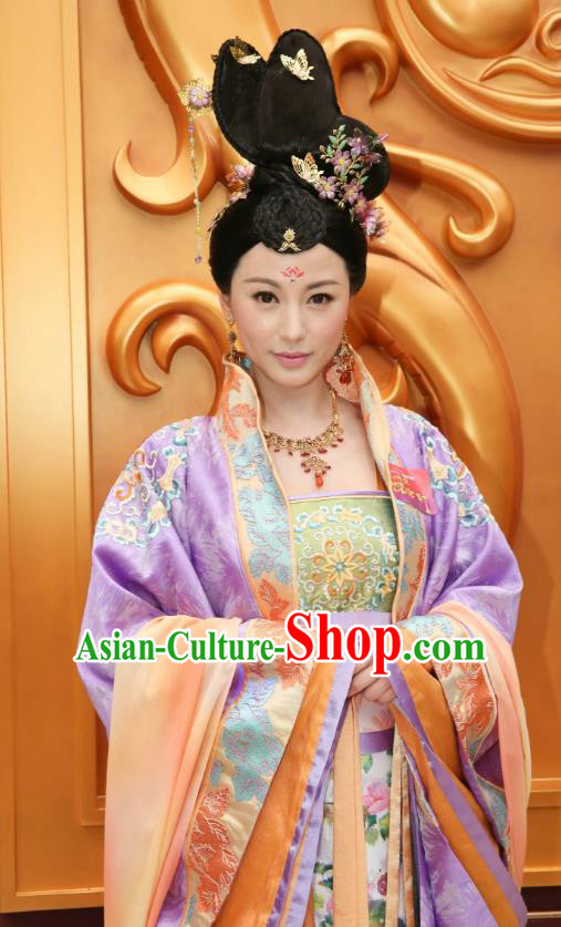 Chinese Ancient Palace Lady Hanfu Dress Tang Dynasty Princess Embroidered Costumes and Headpiece Complete Set