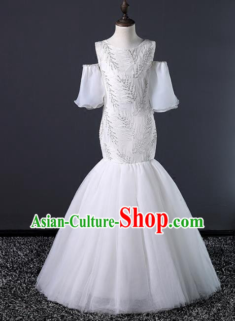 Top Grade Stage Performance Costumes Compere White Veil Mermaid Dress Modern Fancywork Full Dress for Kids
