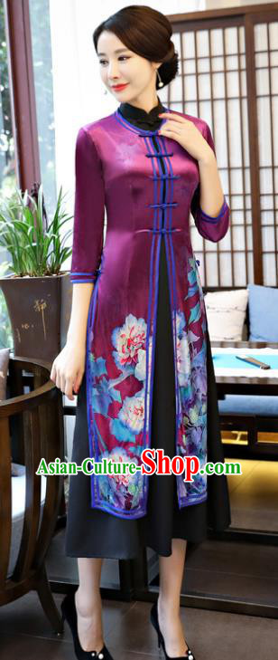 Top Grade Chinese Printing Lotus Purple Qipao Dress National Costume Traditional Mandarin Cheongsam for Women
