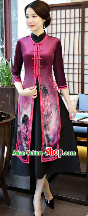 Top Grade Chinese Printing Purple Qipao Dress National Costume Traditional Mandarin Cheongsam for Women