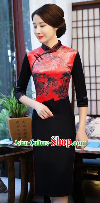 Top Grade Chinese Printing Velvet Qipao Dress National Costume Traditional Mandarin Cheongsam for Women