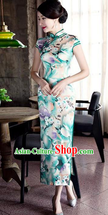 Top Grade Chinese Printing Light Green Silk Qipao Dress National Costume Traditional Mandarin Cheongsam for Women