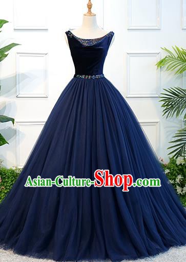 Top Grade Wedding Costume Compere Evening Dress Advanced Customization Navy Veil Dress Bridal Full Dress for Women