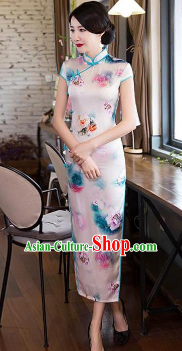 Top Grade Chinese Printing Flowers Pink Silk Qipao Dress National Costume Traditional Mandarin Cheongsam for Women