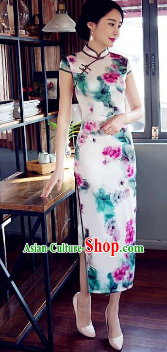 Top Grade Chinese Printing Flowers White Silk Qipao Dress National Costume Traditional Mandarin Cheongsam for Women