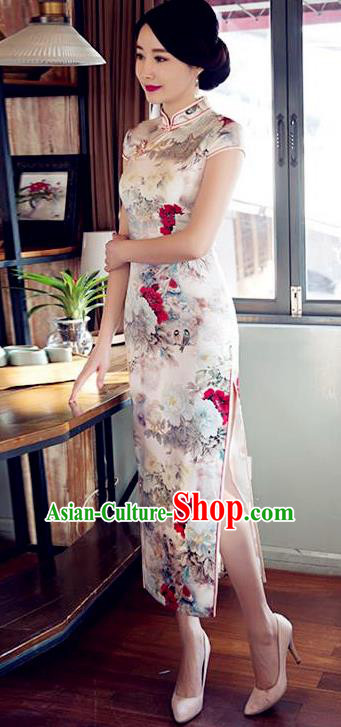 Top Grade Chinese Printing Peony White Silk Qipao Dress National Costume Traditional Mandarin Cheongsam for Women