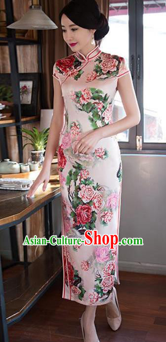 Top Grade Chinese Printing Rose Silk Qipao Dress National Costume Traditional Mandarin Cheongsam for Women