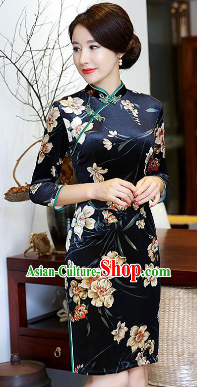 Top Grade Chinese Printing Flowers Navy Qipao Dress National Costume Traditional Mandarin Cheongsam for Women