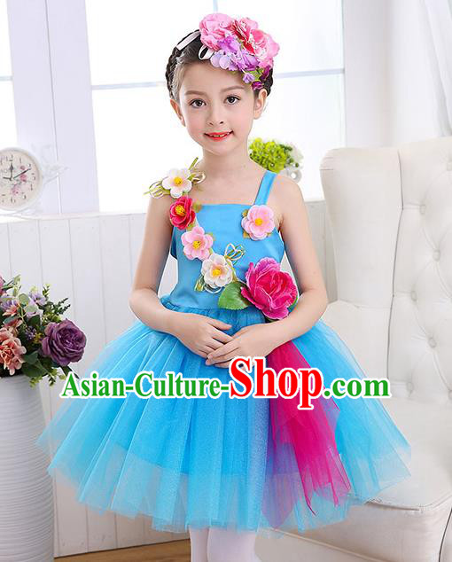 Top Grade Chorus Costumes Children Stage Performance Modern Dance Blue Bubble Dress for Kids