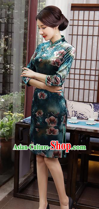 Top Grade Chinese Printing Flowers Green Qipao Dress National Costume Traditional Mandarin Cheongsam for Women