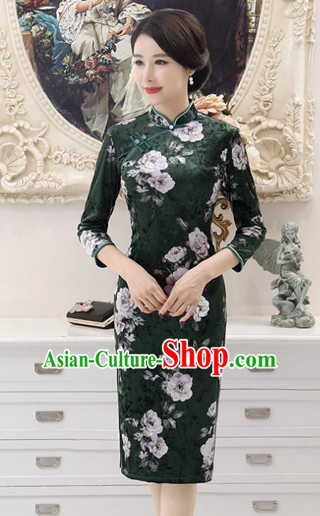 Top Grade Chinese Printing Flowers Atrovirens Qipao Dress National Costume Traditional Mandarin Cheongsam for Women