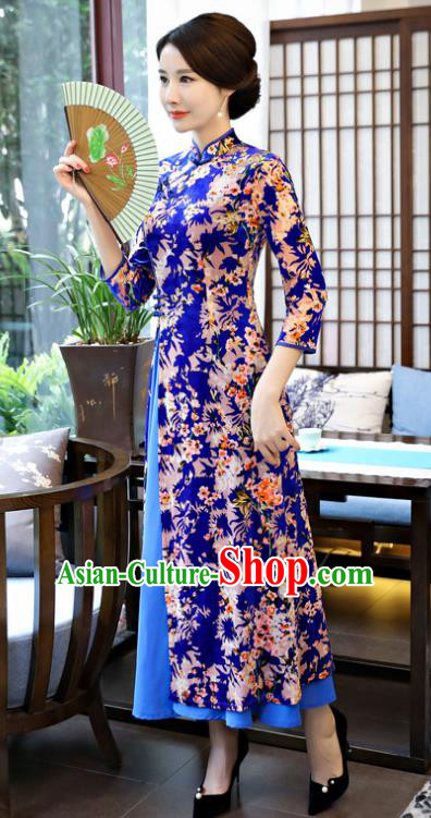 Top Grade Chinese Printing Flowers Royalblue Velvet Qipao Dress National Costume Traditional Mandarin Cheongsam for Women