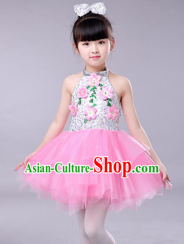 Top Grade Chorus Stage Performance Costumes Children Modern Dance Clothing Pink Veil Bubble Dress for Kids