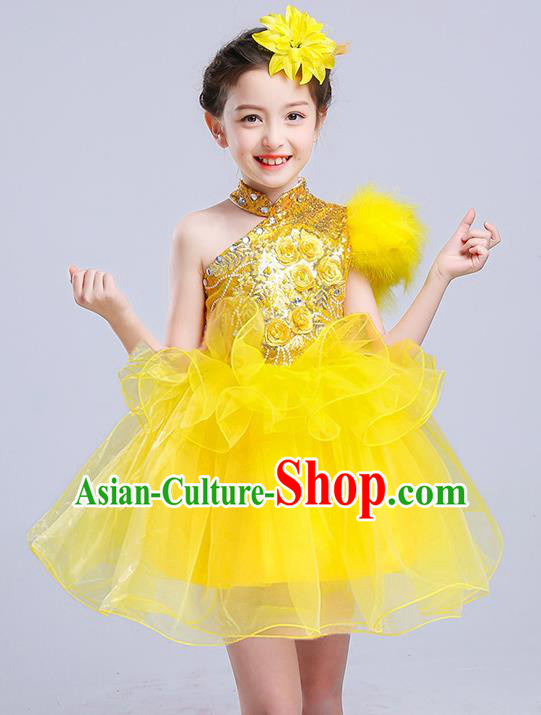 Top Grade Chorus Stage Performance Costumes Yellow Veil Bubble Dress Children Modern Dance Clothing for Kids