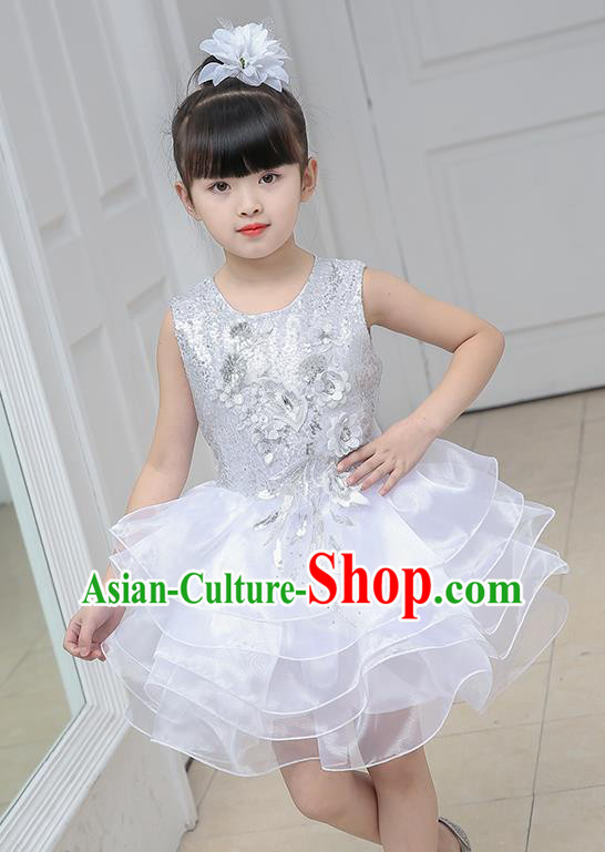 Top Grade Chorus Costumes Stage Performance White Sequins Bubble Dress Children Modern Dance Clothing for Kids