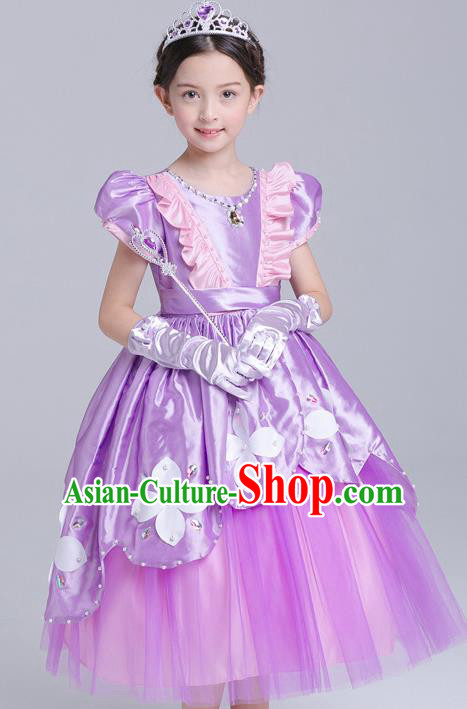 Top Grade Chorus Costumes Stage Performance Princess Purple Full Dress Children Modern Dance Clothing for Kids