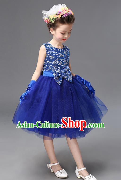 Top Grade Princess Blue Bubble Dress Stage Performance Chorus Costumes Children Modern Dance Clothing for Kids