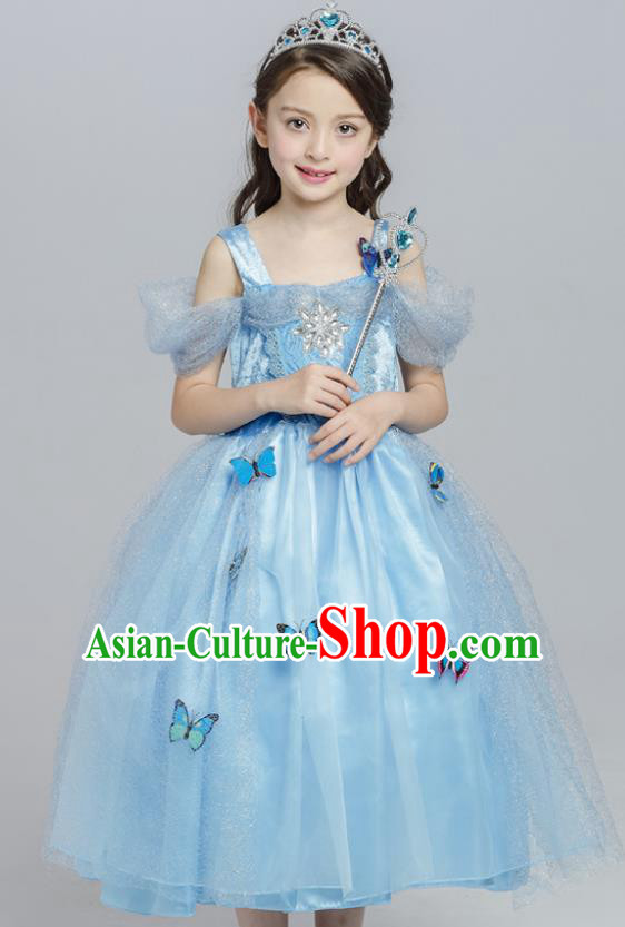 Top Grade Princess Blue Dress Stage Performance Chorus Costumes Children Modern Dance Clothing for Kids