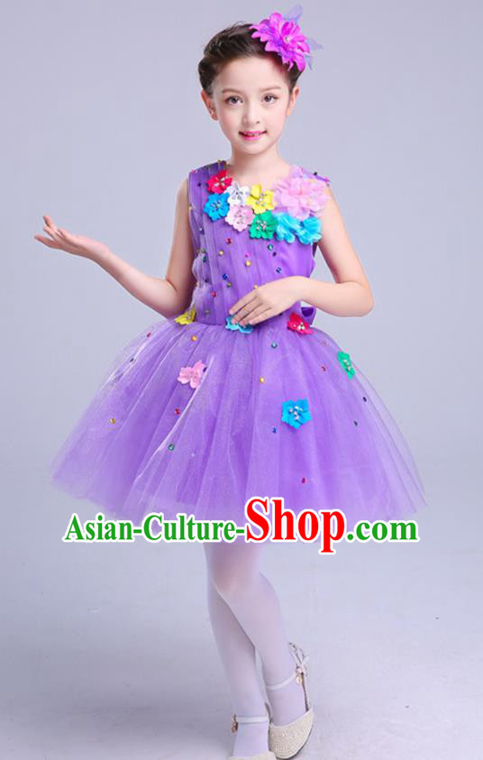 Top Grade Princess Purple Bubble Dress Girls Stage Performance Chorus Costumes Modern Dance Clothing for Kids