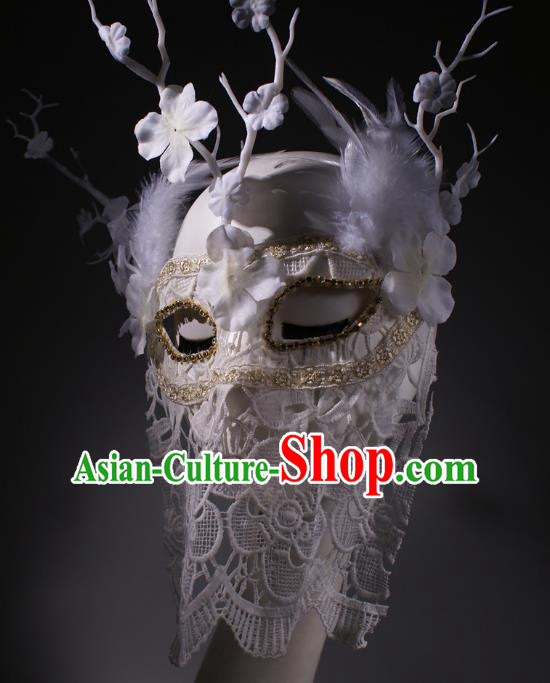 Halloween Fancy Ball Props Exaggerated Face Mask Stage Performance Accessories Christmas Mysterious White Lace Masks