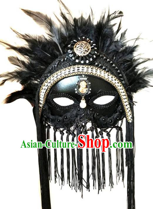 Halloween Catwalks Venice Face Mask Fancy Ball Black Tassel Masks Christmas Exaggerated Feather Masks