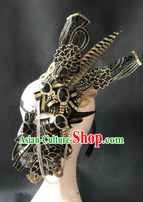 Halloween Catwalks Venice Face Mask Fancy Ball Half Masks Christmas Exaggerated Feather Masks
