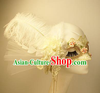 Halloween Exaggerated White Lace Tassel Face Mask Venice Fancy Ball Props Catwalks Accessories Christmas Mysterious Masks