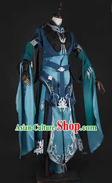 China Traditional Cosplay Royal Highness Swordsman Green Costumes Chinese Ancient Kawaler Knight-errant Clothing for Men