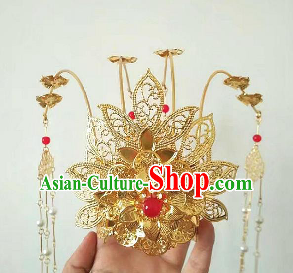 China Ancient Hair Accessories Chinese Traditional Golden Phoenix Coronet Tassel Hairpins for Women