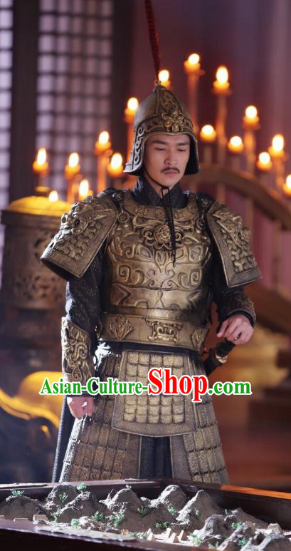 Chinese Ancient General Armour Northern Zhou Dynasty Military Officers Historical Costume and Headpiece Complete Set