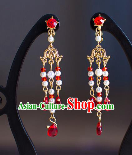 Chinese Ancient Bride Classical Accessories Red Beads Earrings Wedding Jewelry Hanfu Eardrop for Women