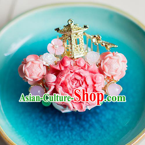 Chinese Traditional Palace Hair Accessories Xiuhe Suit Pink Peony Hair Comb Ancient Hairpins for Women