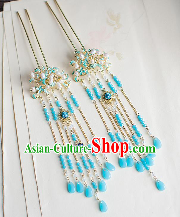 Chinese Traditional Palace Hair Accessories Xiuhe Suit Blueing Lotus Pearls Hair Clips Ancient Hairpins for Women