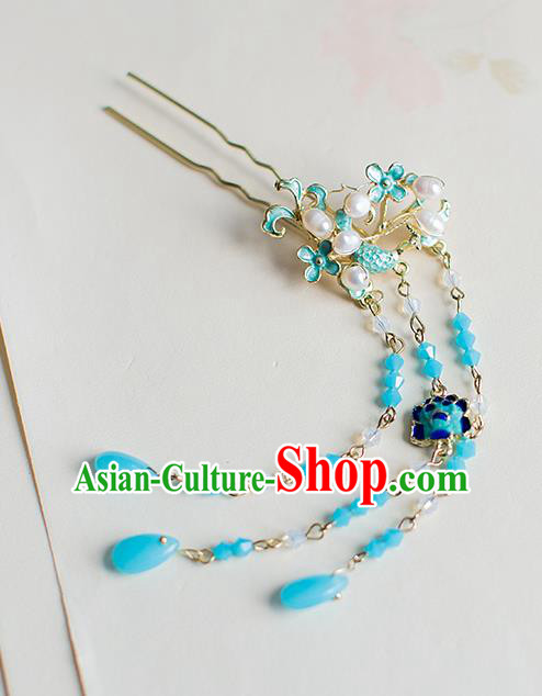 Chinese Traditional Palace Hair Accessories Xiuhe Suit Blueing Pearls Hair Clips Ancient Hairpins for Women