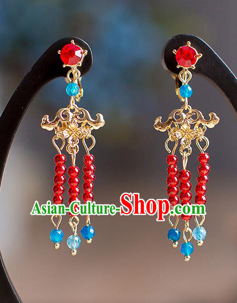 Chinese Ancient Bride Classical Accessories Earrings Wedding Jewelry Hanfu Red Beads Tassel Eardrop for Women