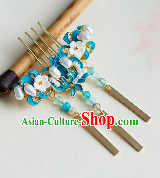 Chinese Traditional Palace Hair Accessories Xiuhe Suit Blue Lotus Hair Comb Ancient Hairpins for Women