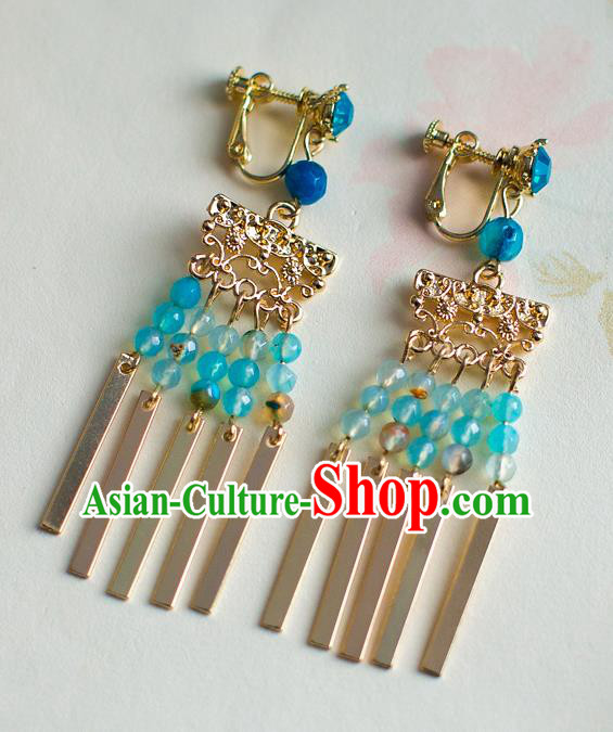 Chinese Ancient Bride Classical Accessories Earrings Wedding Jewelry Hanfu Blue Beads Tassel Eardrop for Women