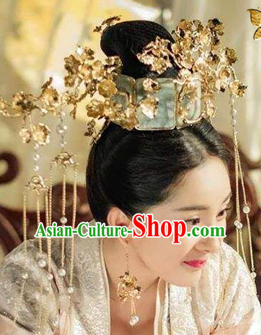 Chinese Traditional Wedding Hair Accessories Ancient Bride Tassel Hairpins Queen Phoenix Coronet Headwear for Women