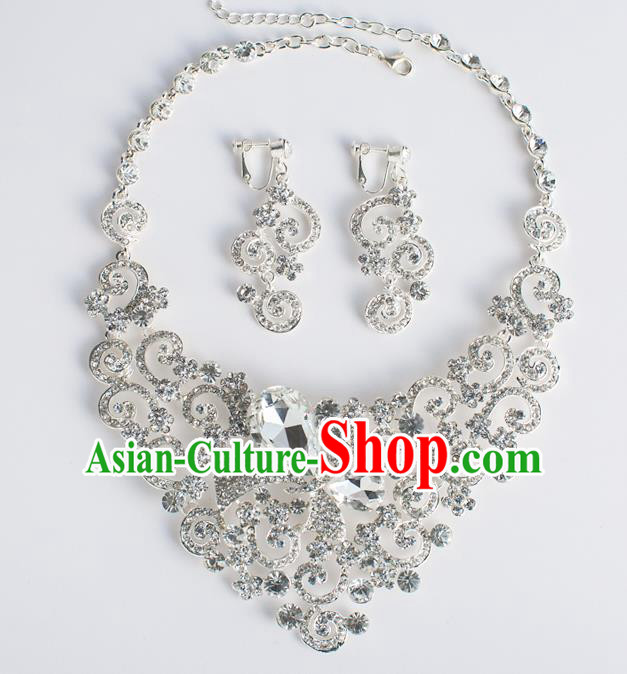 Bride Classical Accessories Crystal Necklace and Earrings Wedding Jewelry for Women