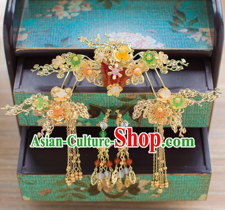 Chinese Traditional Palace Hair Accessories Wedding Hair Comb Ancient Xiuhe Suit Hairpins Complete Set for Women