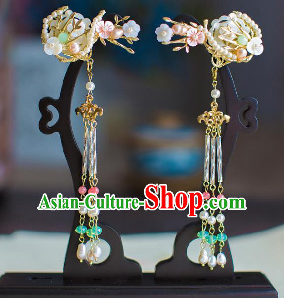 Chinese Traditional Palace Hair Accessories Pearls Hair Claws Ancient Xiuhe Suit Tassel Hairpins for Women