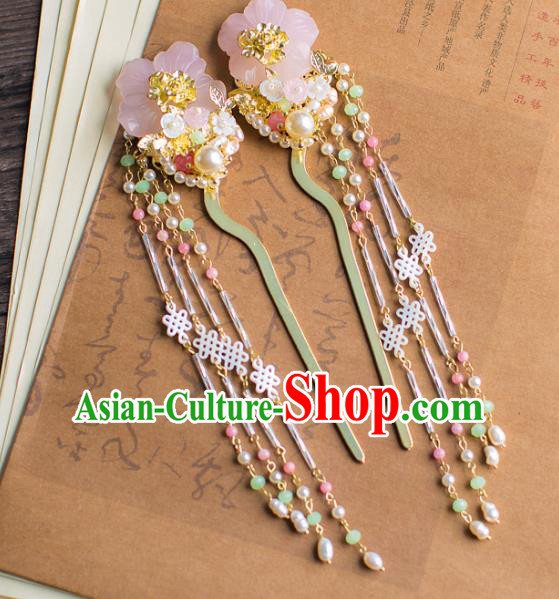 Chinese Traditional Palace Hair Accessories Pearls Hair Clips Ancient Xiuhe Suit Tassel Hairpins for Women