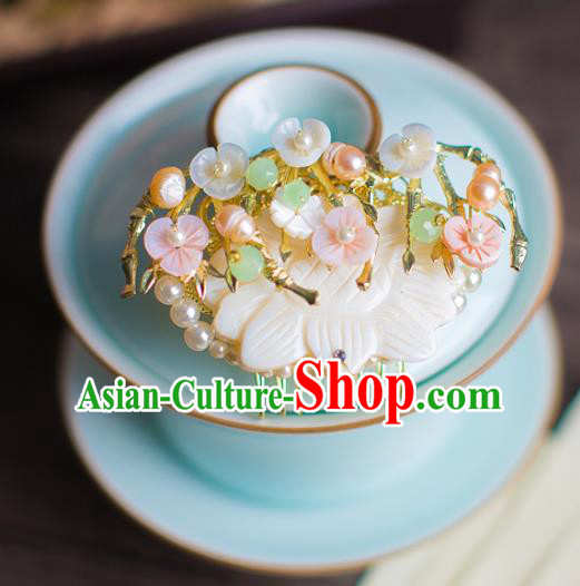 Chinese Traditional Palace Hair Accessories Pearls Hair Comb Ancient Xiuhe Suit Hairpins for Women