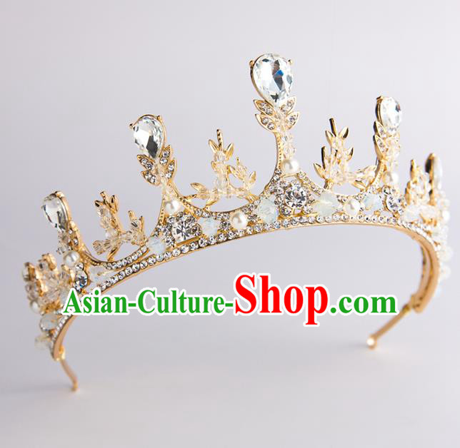 Baroque Bride Hair Accessories Princess Golden Royal Crown Wedding Classical Crystal Imperial Crown for Women