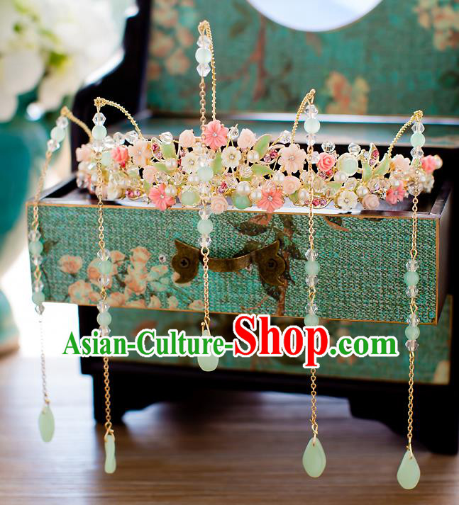 Chinese Traditional Palace Hair Accessories Ancient Xiuhe Suit Pearls Phoenix Coronet Hairpins for Women