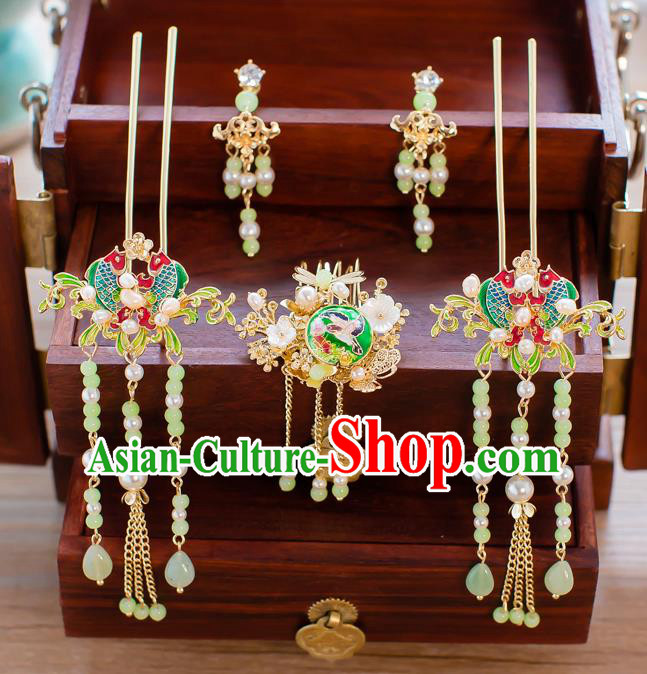 Chinese Traditional Palace Hair Accessories Ancient Hairpins Xiuhe Suit Hair Comb Complete Set for Women