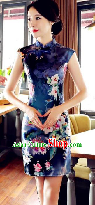 Top Grade Chinese Printing Qipao Dress National Costume Traditional Mandarin Cheongsam for Women