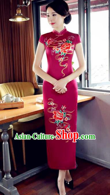 Top Grade Chinese Printing Peony Rosy Silk Qipao Dress National Costume Traditional Mandarin Cheongsam for Women